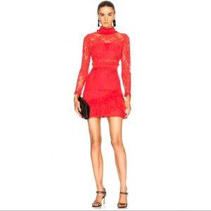 Alexis Wilhemina Red Silk Lace Mock Neck Dress